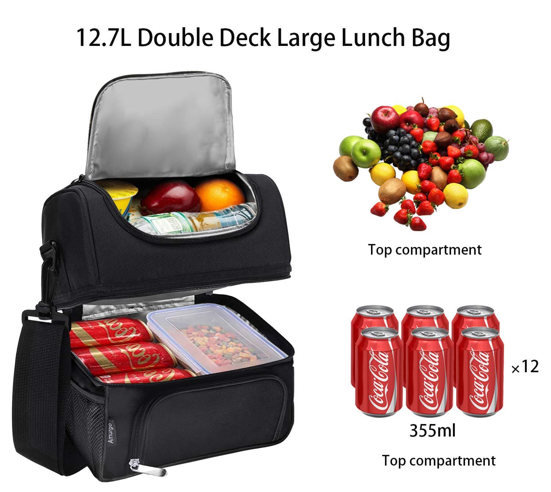 Lunch Box Picnic Double Deck Cooler Insulated Large Cooler Bundle Meal Prep Foldable Tote Bag with Adjustable Shoulder Strap Black for Men Women Aldults Kids