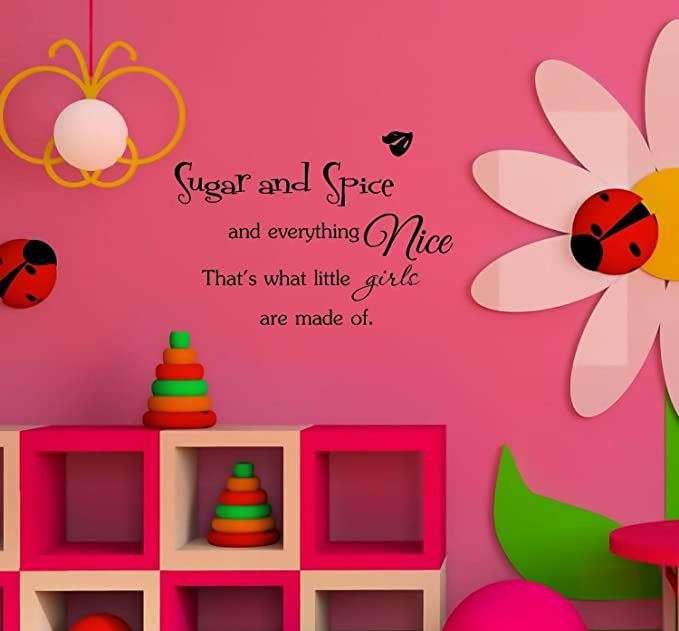 Girl Nursery Quote Wall Art Sugar and Spice and Everything Nice Art Print Aldari Art Aqua Blue Nursery Art