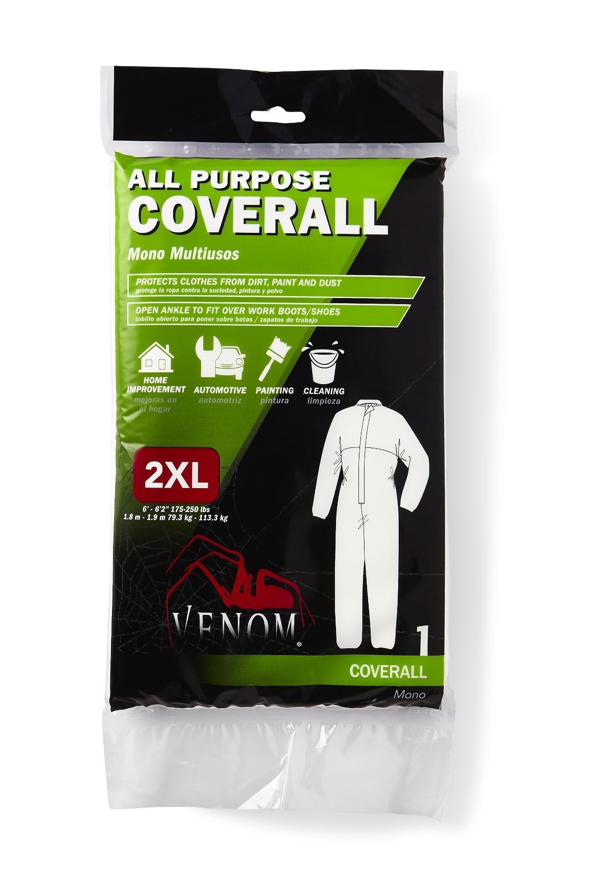 Medline VENCV200XXL Venom All Purpose Coveralls, XX-Large, White (Case of 24)