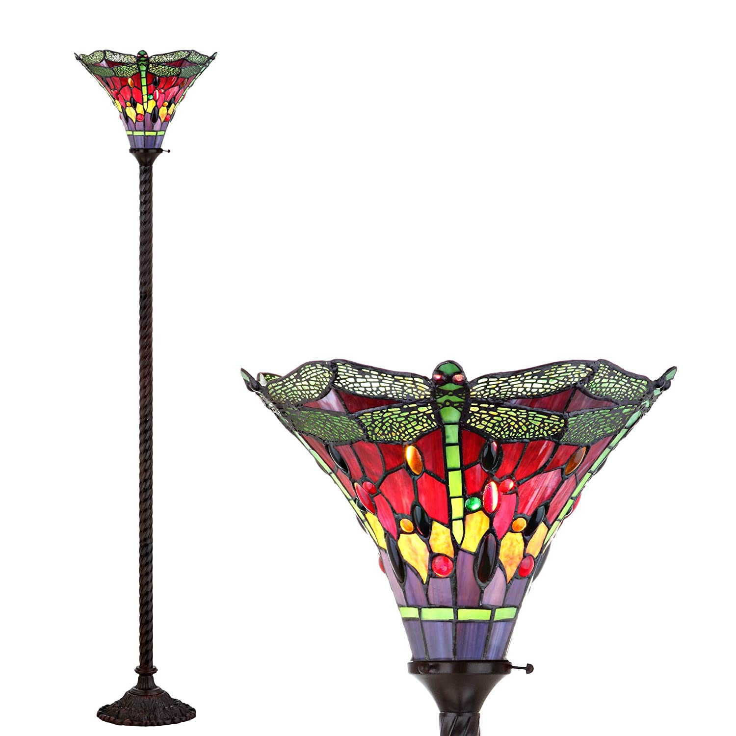 JONATHAN Y JYL8002B Dragonfly Tiffany 71 Torchiere Floor Lamp, Classic Traditional Styling, Bulb Included, Bronze Green