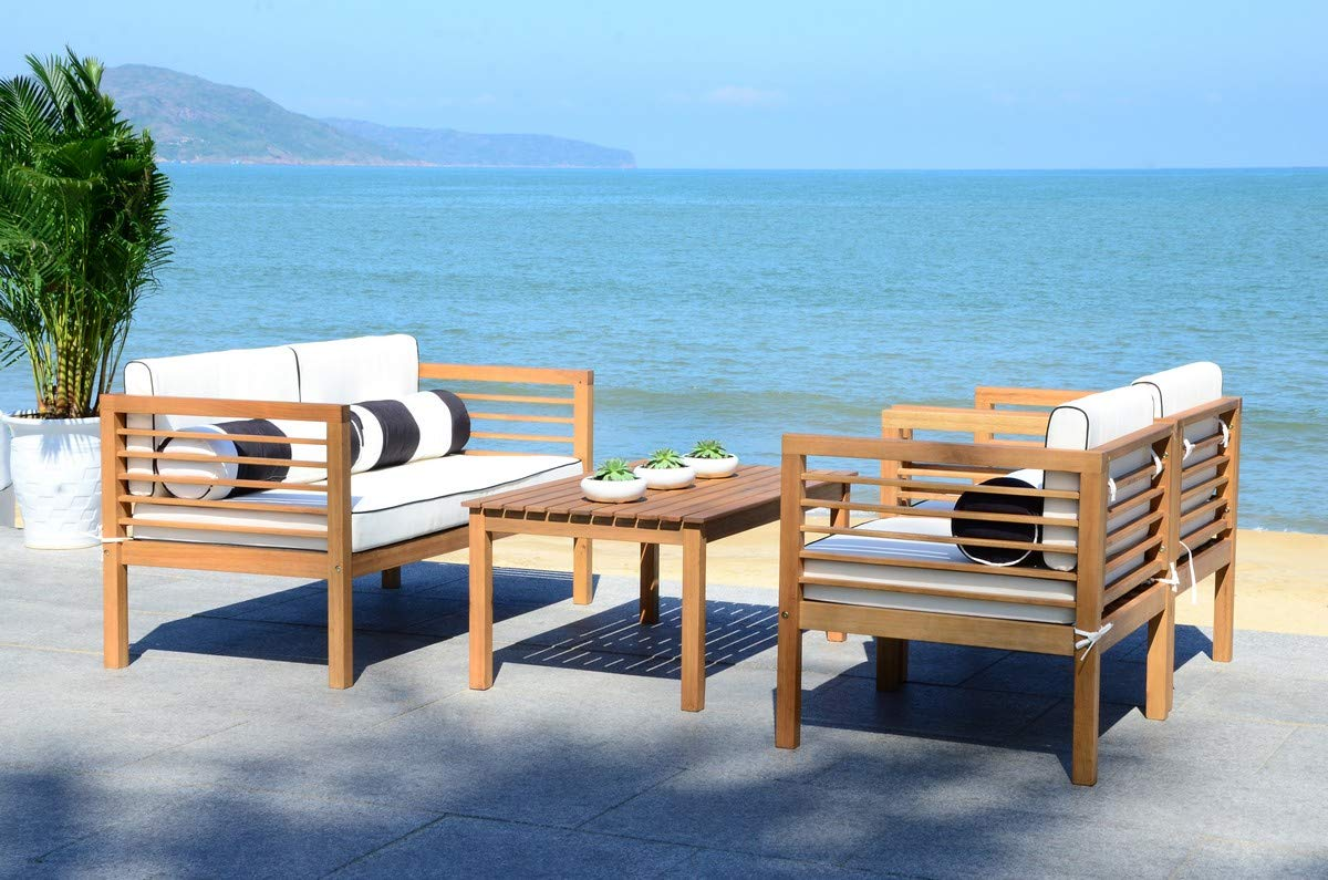 Safavieh PAT7033C Collection Alda Teak and Black and White 4 Pc Accent Pillows Outdoor Set, Natural/Beige by Safavieh