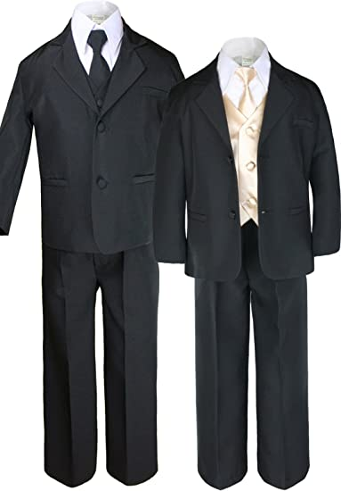Unotux 7pc Boys Black Suit with Satin Champagne Vest Set from Baby to Teen