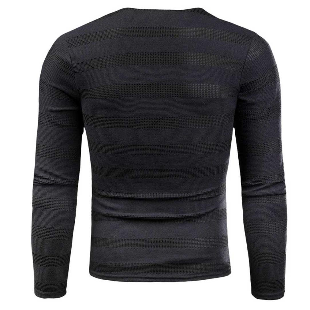 Esharing Mens Large Size Round Neck Knit Striped Sweater Slim Tops Blous Clothes