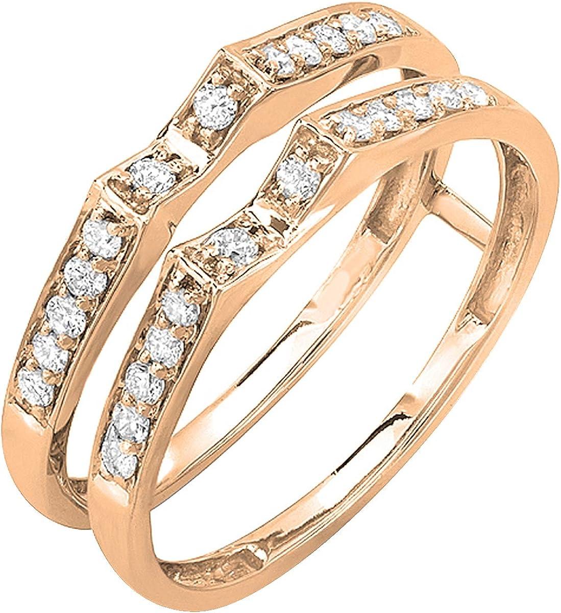 Dazzlingrock Collection 0.32 Carat (ctw) 10K Gold Round Diamond Ladies Bridal Wedding Band Double Guard Ring 1/3 CT