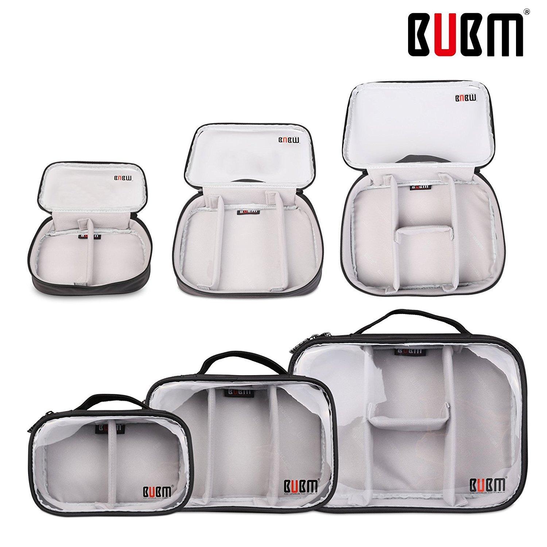 BUBM Transparent Electronics Accessories Organizer Travel Carrying Handbag Waterproof Storage Bag (3pcs/Set, Clear, Single Layer)