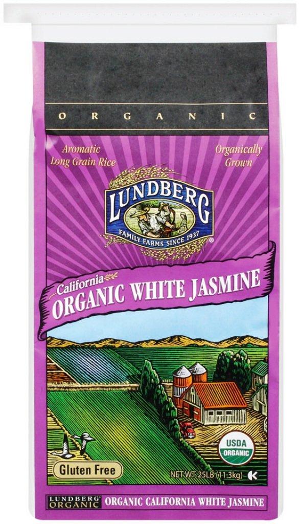 Lundberg Family Farms Organic California White Jasmine Rice, 25 Pounds (Packaging May Vary)