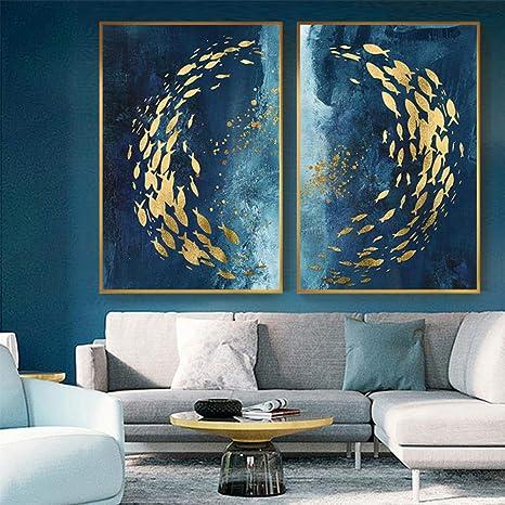 Amazon Com Abstracto Pez Oro Chino Lienzo Pintura Grande Azul Póster Impresión Lujoso Arte De Pared Para Sala Pasillo Oro Tableaux Cuadro 50x70cmx2 Sin Marco Home Kitchen