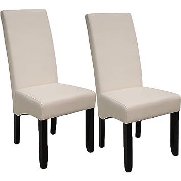 Pack de 2 sillas Osaka Blancas de salón Comedor de Polipiel Blanco Roto y  Acolchadas Modelo, Modernas, económicas. Altura 108cm / Asiento 49x49cm