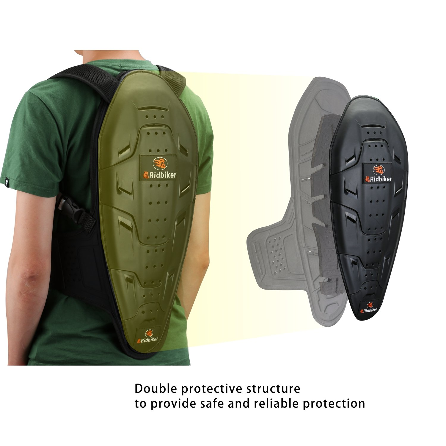 RIDBIKER Motorcycle Bicycle Back & Spine Protector Motocross Racing Spine Armor Skiing Riding Skating Anti-Fall Vest Protective Gear by RIDBIKER (Image #5)