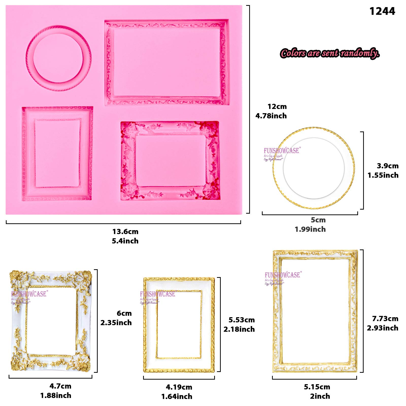Funshowcase Mirror Frame Candy Silicone Mold, 3 in Set for Sugarcraft, Cake Decoration, Cupcake Topper, Chocolate, Fondant, Jewelry, Polymer Clay, Epoxy Resin, Crafting Projects by FUNSHOWCASE (Image #4)