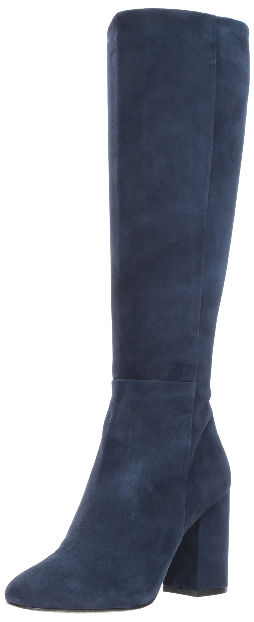 Kenneth Cole New York Women's Clarissa Knee High Tall Stacked Heel Engineer Boot, Navy, 9 M US
