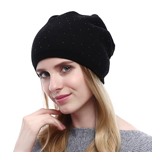 cbb0d0083cde9 QUEENFUR Winter Cap for Women - Warm Wool Hat Cashmere Caps Knit Solid  Beanies Hats (Black) at Amazon Women s Clothing store