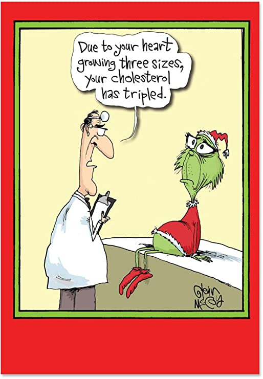 Weihnachtsgrüße Funny.5829 Grinch Cholesterol Funny Merry Christmas Greeting Card With