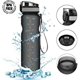 1L Water Bottle[BPAFree],CAMTOA Leakproof Lock Closure Sports Drinking Bottle/Flask/Hydrate Kettle/Hydration Tank Jug Container with String-Easy Carrying For Running,Gym,Diet,Yoga,Outdoors & Indoors-Open By 1Click