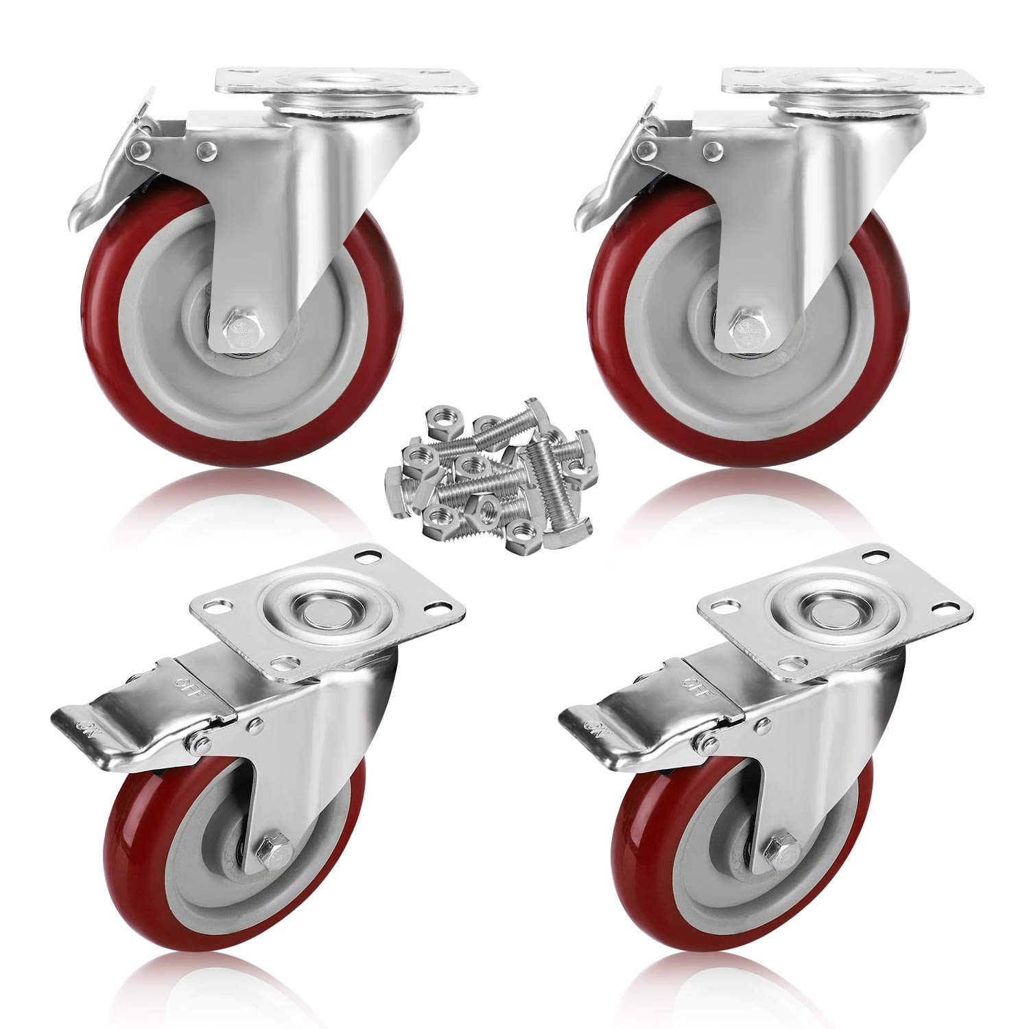 PRITEK 5 inch Swivel Caster Wheels Bearing 1500 lbs 4 Pack Heavy Duty Rubber Plate Casters All with Safety Brake No Noise Lockable Swivel Casters Matching 16pcs Screws Set