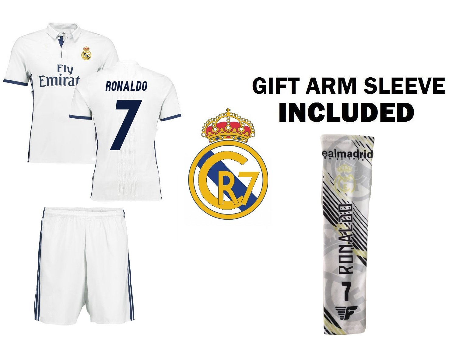CR7 Christiano Ronaldo Kids Soccer Jersey Set - Ronaldo  7 Youth Jersey  Shirt + Shorts + CR7 Bag   Ultimate Fan Gift Set for Boys   Girls (Youth  Large 10 to ... 56302a471