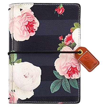 Webster's Pages Travel Journal Notebook | Functions As A Small Leather Pocket Journal, Travelers Diary, Daily Planner, & Life Organizer | Black Floral (Tn001 Bf) by Webster's Pages