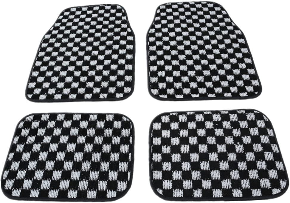 Moyishi 4pc Set of Solid Color Auto Floor Mats for CarTruckVanSUV Lattice Univerdal Fits Front Row