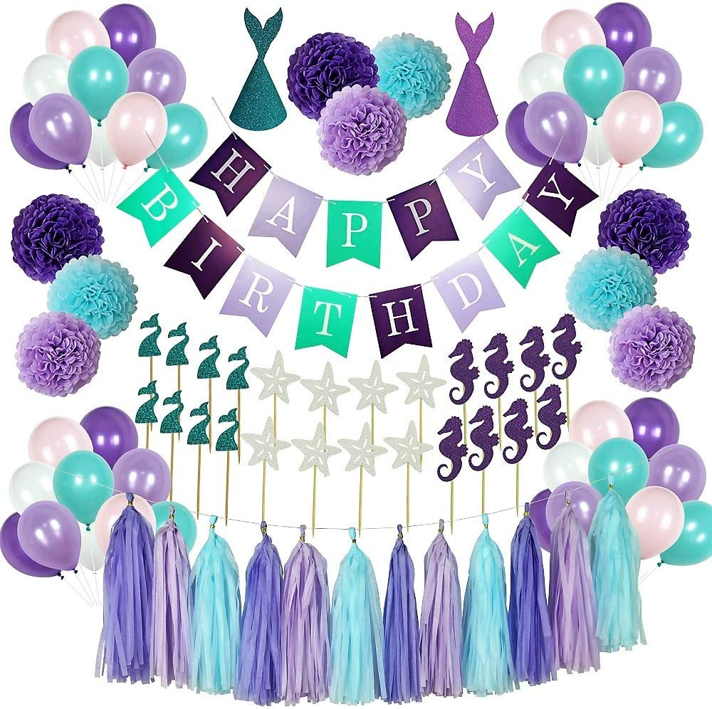 The Mermaid Party Supplies - 88 Pack Mermaid Birthday Party Decorations for Girls Birthday Party Baby Shower Bridal Shower Decorations Little Mermaid Party Under the Sea Ariel Birthday Party - Premium Quality with extra added Bonus