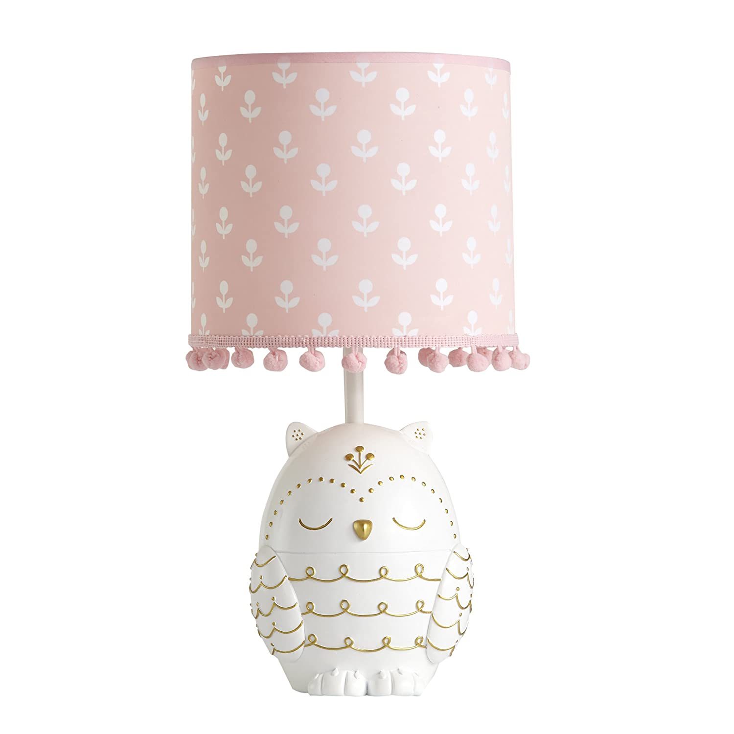 Happi by Dena Woodland Couture Owl Lamp With Shade & Bulb, Pink/White Lambs & Ivy 591624B