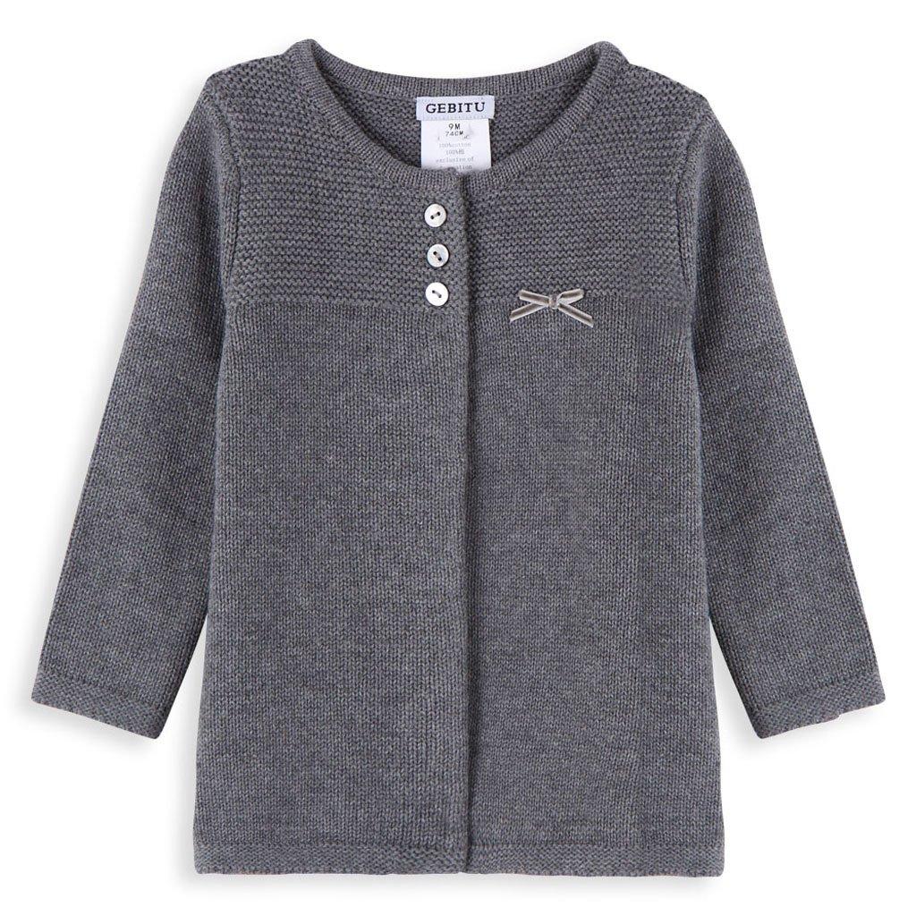 GEBITU Baby Girl's Plain Crew Neck Sweater