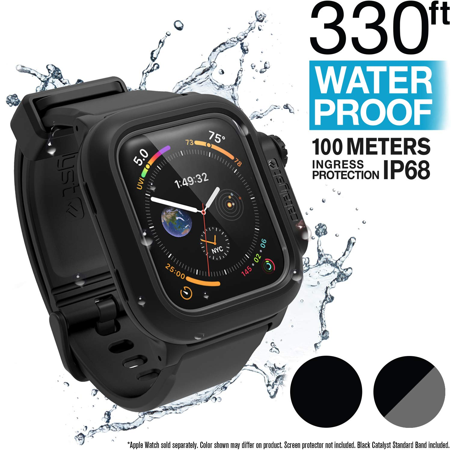 Catalyst Waterproof Apple Watch Case Series 4 44mm with Premium Soft Silicone Apple Watch Band, Shock Proof Impact Resistant [Rugged iWatch Protective case] - Stealth Black by Catalyst (Image #1)