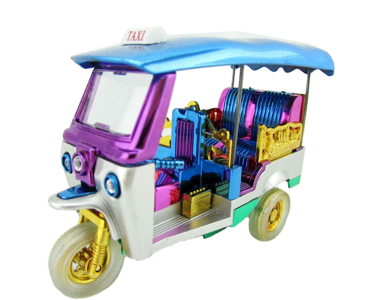 Thai Tuk Tuk Thailand Model Taxi Tricycle Wind Up Wheels Car Toy Vehicle Collectible (Blue)
