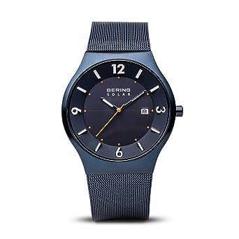 BERING Reloj Analógico para Hombre de Energía Solar con Correa en Acero Inoxidable 14440-393: Amazon.es: Relojes