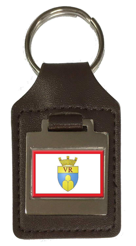 Leather Keyring Engraved Victoria City Malta Flag