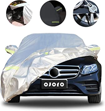 All Weather Car Protection Waterproof//Windproof//Scratch Resistant//Reflective Strips for Sedan Wagon Use 181-192 Ojofo Car Cover Universal Full Car Covers with Zipper Door up to 192