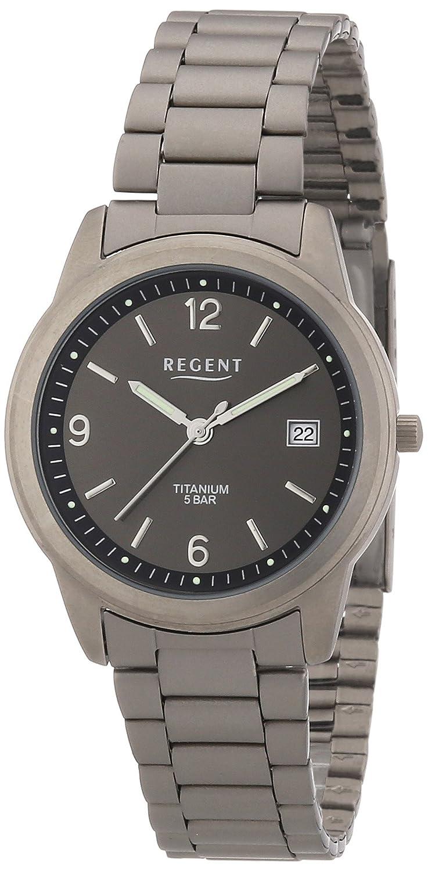 Regent 11090159 - Reloj analógico de Cuarzo para Hombre con Correa de Titanio, Color Gris