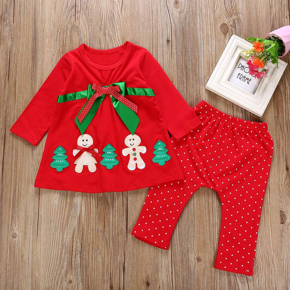 Pants Christmas Outfits Toddler Baby Girls Christmas Clothes Vovotrade Newborn Cute Cartoon Print Bowknot Tops Infant Kids Xmas Tree Snowman Long Sleeve Blouse