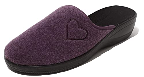 57a29920cad022 Zapato Damen Filzclogs Hausschuhe Pantolette Slipper Clogs Wörishofer  Keilabsatz Sohle Gr. 40 lila mit Herz