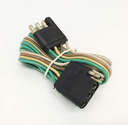 amazon com: 5' trailer light wire harness 4 way wire flat connector  extension - 5 feet: car electronics