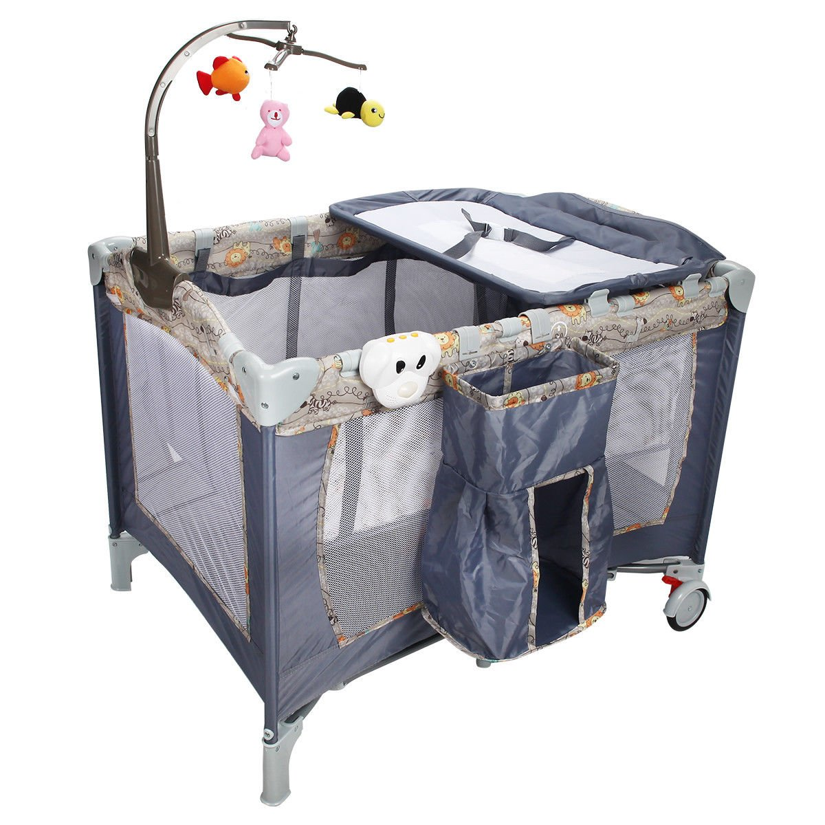 Gray Steel Frame and oxford fabric Baby Crib With Ebook