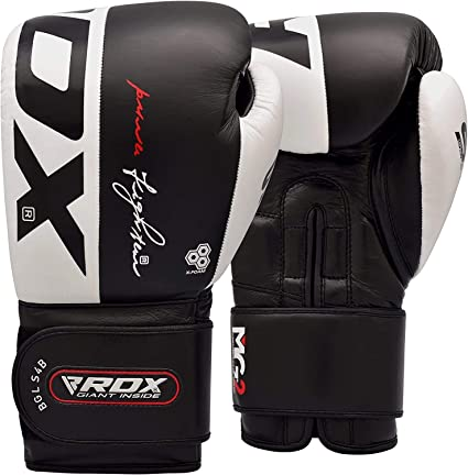 RDX Leather Grappling Gloves MMA Sandbag Fight Sports Training Gloves DE