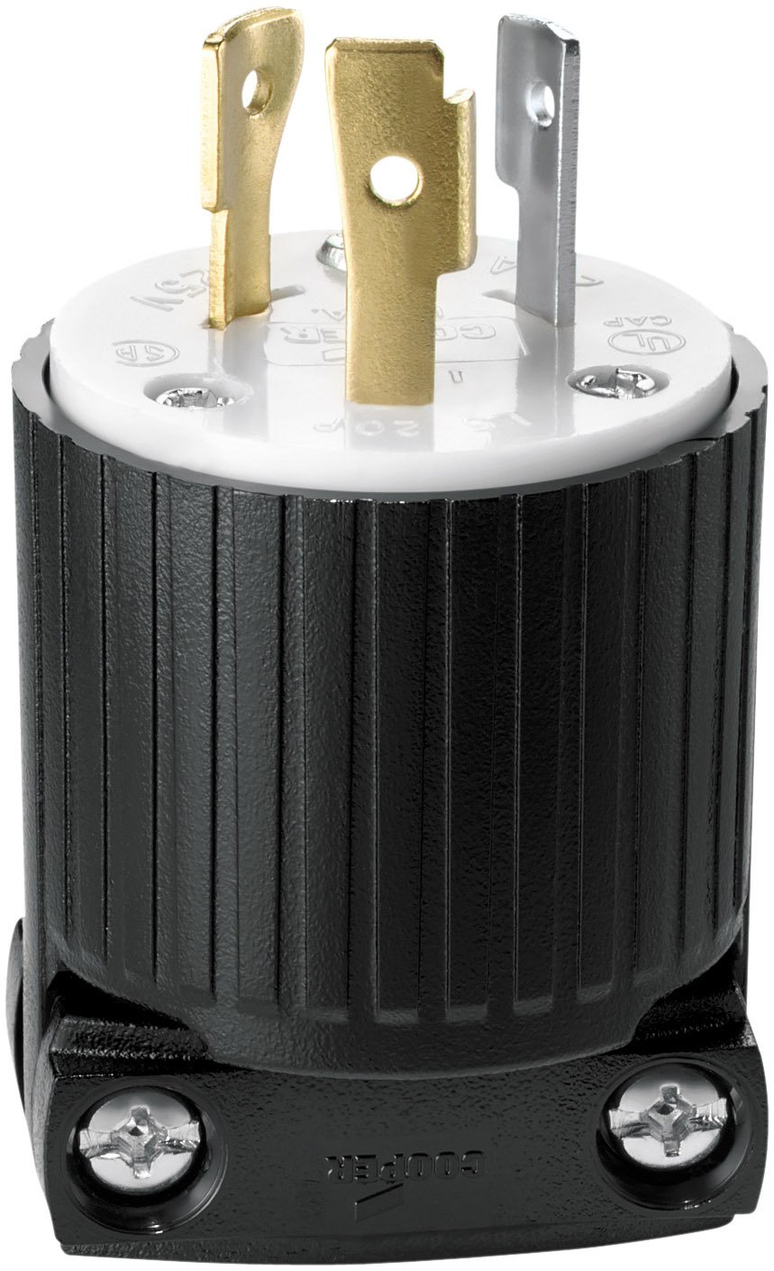 Eaton L520P 20-Amp 125-Volt Hart-Lock Industrial Grade Plug with Safety Grip Black and White