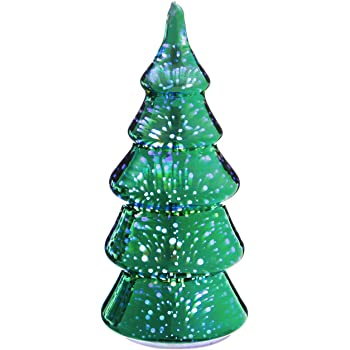 evergreen stargazing green starburst 9 inch led glass christmas tree statue
