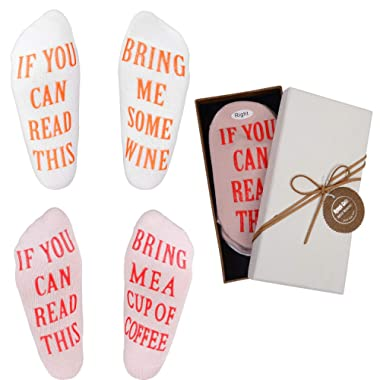 Wine Socks - Funny Wine Gifts with Gift Box If You Can Read This  Socks,Best Novelty Gifts for Wine Lover,Mom or Wife,Perfect Valentines Day,White Elephant,Birthday,Hostess or Housewarming Gift Idea