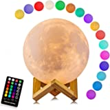 Moon Lamp, LOGROTATE 16 Colors LED 3D Print Moon Light with Stand & Remote&Touch Control and USB Rechargeable, Moon Light Lam