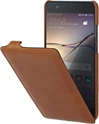 StilGut Housse pour Huawei P10 Plus en Cuir véritable à Ouverture Verticale et Fermeture clipsée, Cognac