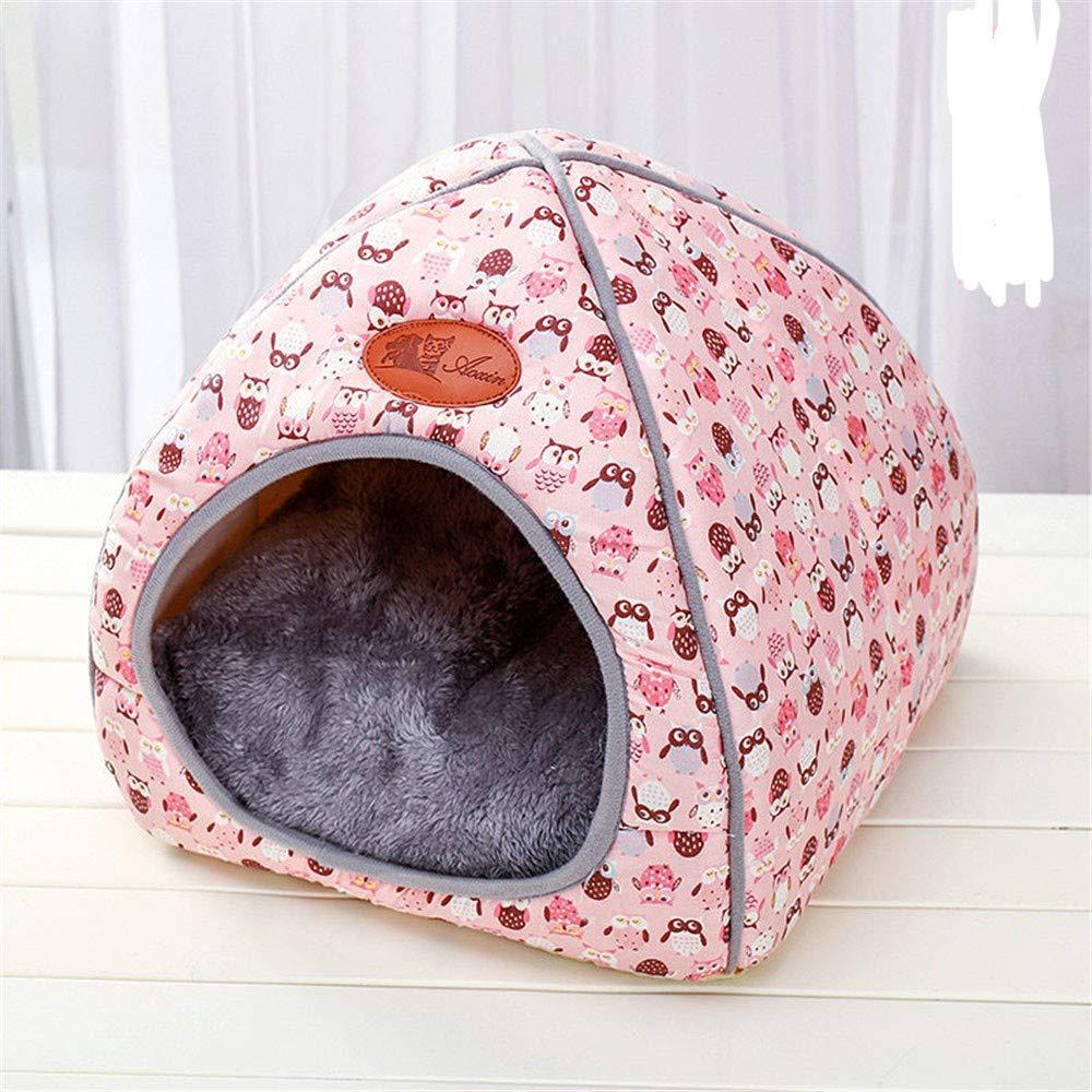 Pink L Pink L Pet Dog Bed-Best Friends Portable Kennel Indoor Outdoor House Closed House Folding cat Villa pet yurt Autumn Winter, L, Pink