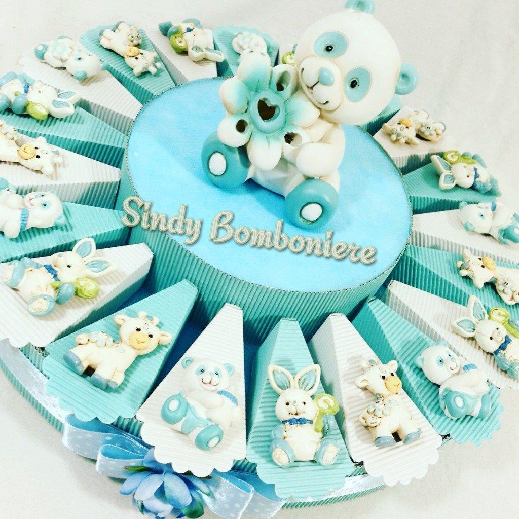 Idea BOMBONIERA 1 ° Cumpleaños Bautizo Nacimiento Tarta niño animales Imán surtidos azul