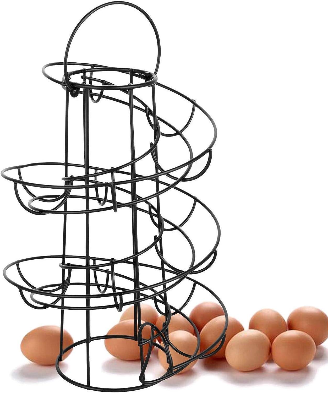 Spiral Design Metal Egg Skelter Egg Skelter Dispenser Rack Chicken Egg Storage Organizer Display Holder Basket for Countertop Kitchen