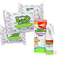 Boogie Wipes Baby Bundle, 3 Packs Unscented Boogie Wipes and Boogie Bottoms Diaper Rash Spray