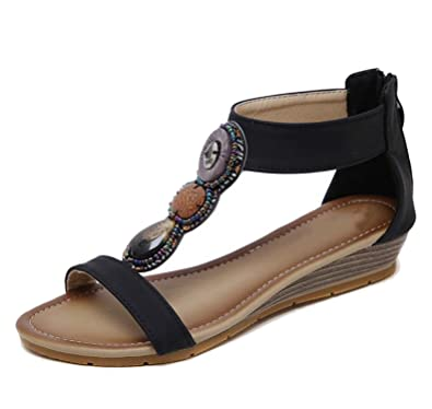a2cee9739 Women Bohemia Wedge Sandals Shoes Woman String Bead flip Flop Genuine  Leather Black