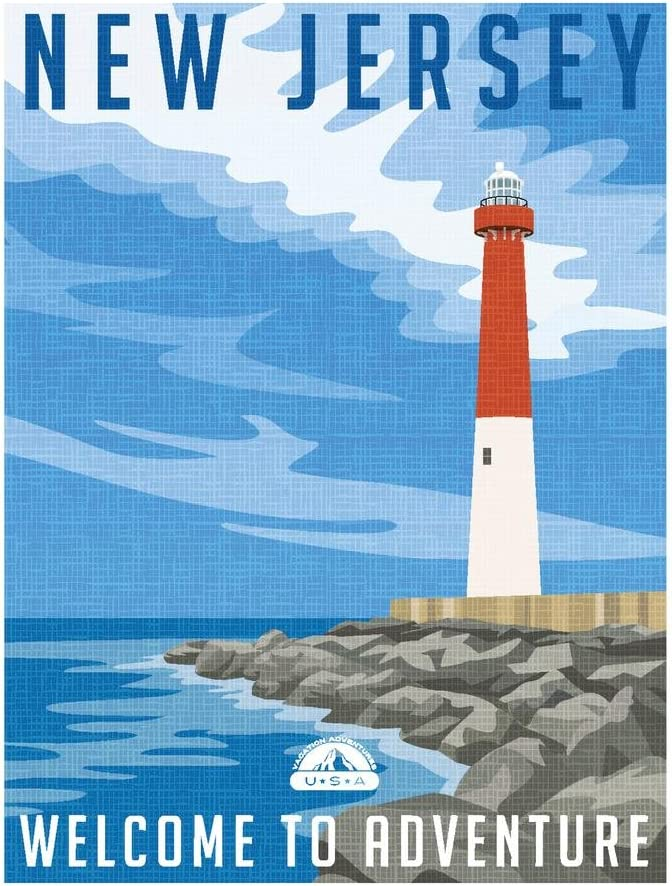 New Jersey Welcome to Adventure Retro Travel Art Cool Wall Decor Art Print Poster 24x36