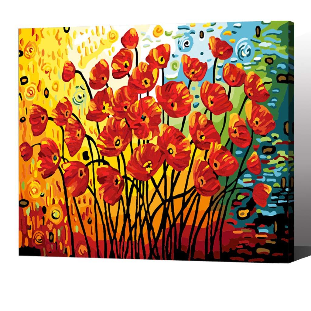 Pintura por Numeros Con Marco ( ITM-5706) flor 16x20