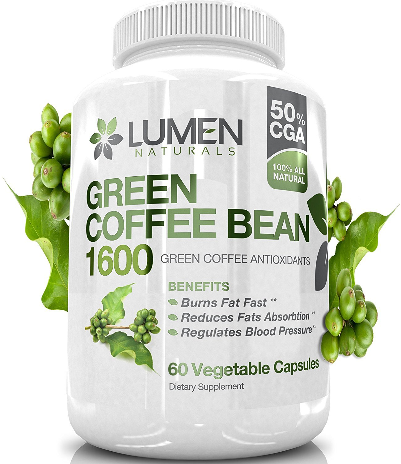 Pure Green Coffee Bean Extract - 800mg Maximum Strength Fat Burner to Accelerate Metabolism & Increase Energy - All Natural GCA (Green Coffee Antioxidant) & Chlorogenic Acid - 60 Count by Lumen Naturals