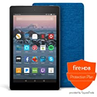Fire HD 8 Protection Bundle with Fire HD 8 Tablet (32 GB, Black), Amazon Cover (Marine Blue) and Protection Plan (1-Year…
